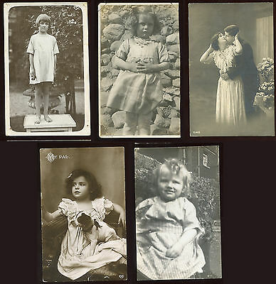 Collection 5 black & white postcards people & children