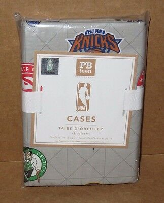 S/2 NIP Pottery Barn Teen NBA Eastern Conference Pillowcases, Standard, Gray NEW