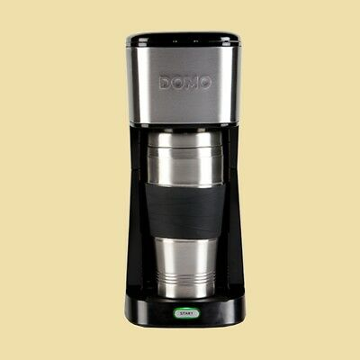 Domo Kaffeemaschine Coffee to Go DO 437 K inkl. Thermobecher - schwarz/Edelstahl