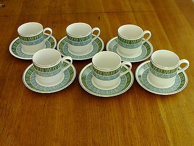 Vintage Midwinter Tableware Whitehill Coffee Cups & Saucers X 6