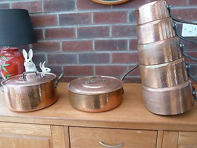 French Vintage Matching 7 Piece Copper Pan Set Tin Lined Weight 12.9 kgs