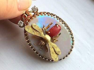 Vintage 14/18K Gold Opal Diamond Pendant with Coral Bee, Italy