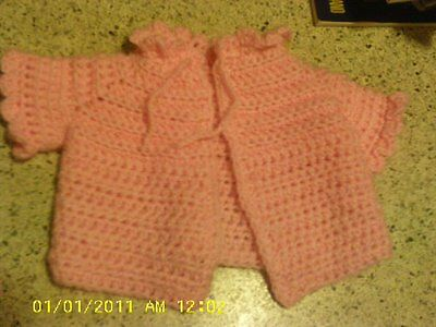 Hand Crochet Pink Baby Jacket size 3-6 mos