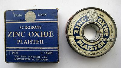 Boxed tin roll of ZINC OXIDE PLAISTER by William Mather