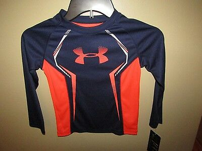 NEW! UNDER ARMOUR~AllSeasonGear~Fitted~Youth 4~NAVY/ORANGE~Long Sleeve Shirt