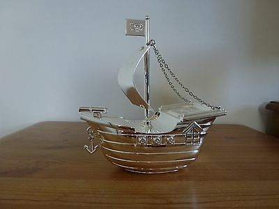 silver plated pirate ship money box christening gift new baby gift