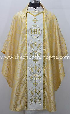 NEW YELLOW Metallic Gothic Vestment and Stole set with IHS Embroidery, Casula,