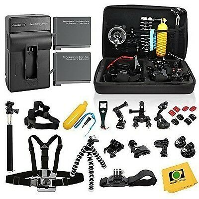 Complete Kit GoPro Hero 4 Black Silver 2 Batteries Charger + 30-pcs Accessories