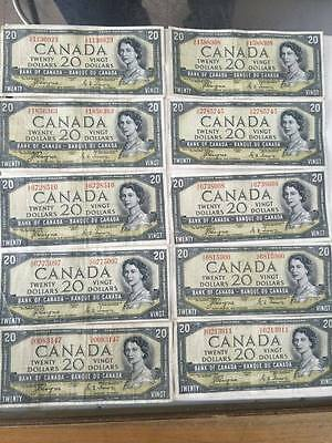 50  fifty  1954 $20 Dollar Bank of Canada note Devil's face