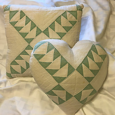 Pair of Antique Quilt Primitive Shabby Chic Green White Hand Quilted Pillows