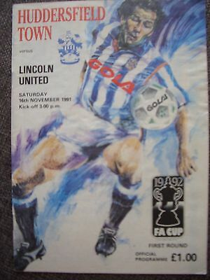 1991....HUDDERSFIELD TOWN v LINCOLN UNITED...F.A.Cup 1st rd...Football Programme