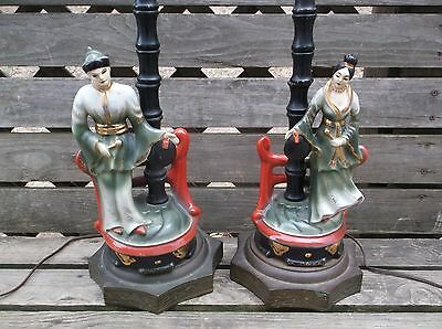 PAIR of ANTIQUE CHINESE FIGURAL Faux BAMBOO PORCELAIN STATUE LAMPS Woman & Man
