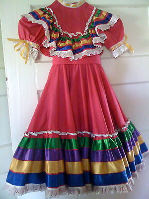 Girls Size 4-6 Mexican Folkloric Folklorico Jalisco Dance Fuchsia Hot Pink Dress