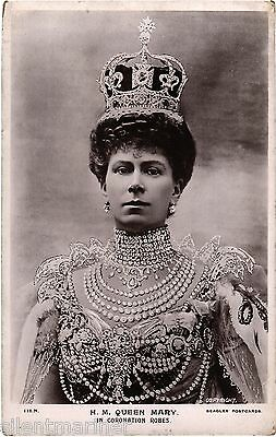 H. M. Queen Mary in Coronation Robes, old RP postcard, unposted