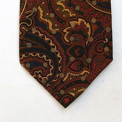Gianfranco ferre Vintage 70s Made in Italy Paisley Mens Neck Tie Silk Black Nice