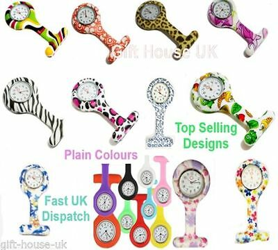New Nurse Watch Patterned Silicone Nurse Brooch Tunic Fob Watch FREE BATTERY