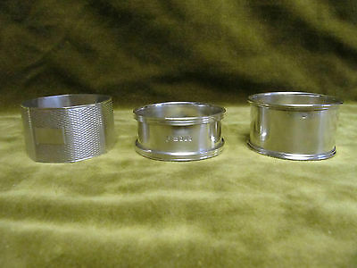 Antique english & canadian sterling silver 3 napkin rings (birmingham, London)