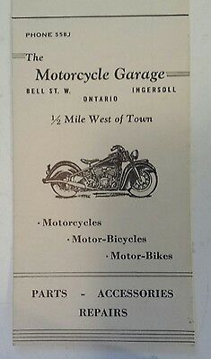 """Rare Canadian (Ingersoll, Ontario) """"the Motorcycle Garage"""" Advertising Pay Card"""