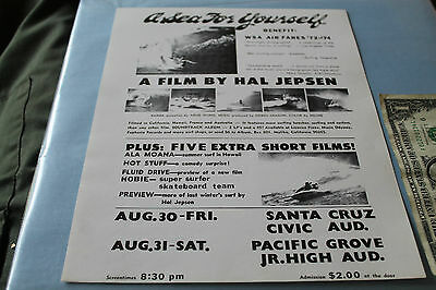Vintage Surfing Hal Jepsen A SEA FOR YOURSELF 1974 Handbill 8x11in. POSTER Hobie