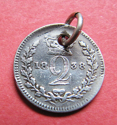 A nice 1838 Victoria silver maundy twopence coin charm/pendant