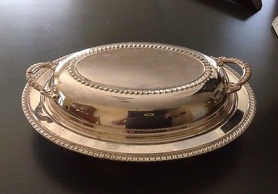 "Silver Plated 11.5"" Oval  Lidded Serving Dish"