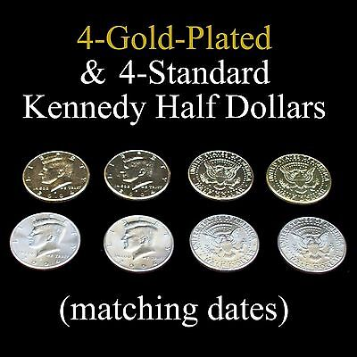 4-Gold-Plated +4-Standard Kennedy Half Dollars (great for coin magic)