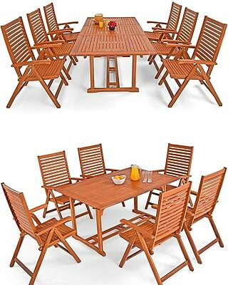 Outdoor Dining Set Garden Table 6 Chairs Patio Balcony Foldable Wooden Furniture