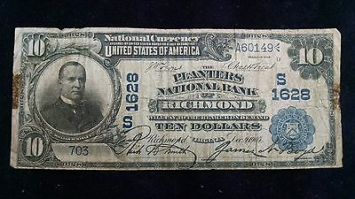 1902 $10 The Planters National Bank of Richmond CH# 1628