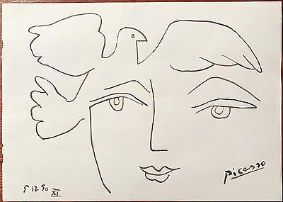 Picasso Original Pen Ink Hand Signed Drawing Dove Portrait