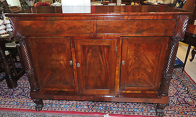Lovely Early 19th Century Empire Server  mahogany rectilinear sideboard buffet