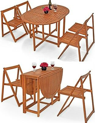 Outdoor Dining Set Garden Furniture Wooden Table Chairs Conservatory 4 Seats NEW