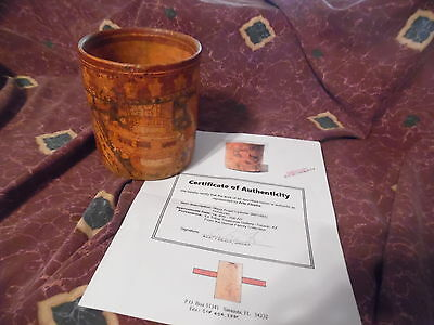 RARE Authentic Mayan polychrome Angel Cylinder Pre-Columbian with COA Beautiful!