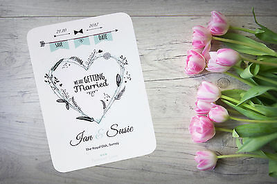 Personalised Save The Date Night Cards X 50 Wedding Loveheart Magnetic A6 SD38