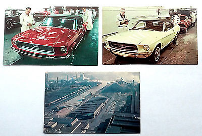 Original 1967-68 Ford Mustang & Cougar Assembly Line Photo Postcard Set (3)
