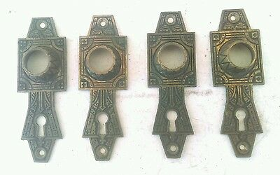 Four old antique East Lake Style Door Back Plates, heavy brass