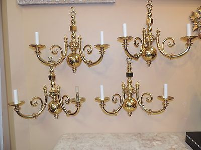 Set Four Large Brass Sconces  heavy cast brass  English-style Lampiari