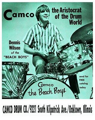 Dennis Wilson  **LARGE POSTER**  Camco Drums the Beach Boys dw EARLY Promo ad