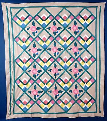 "Antique Quilt Top, ""9-Patch Nosegay"", Cotton, Mint, Unused Condition..."