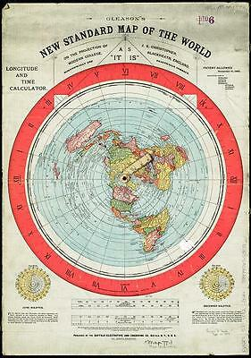 [Flat Earth] Gleason's New Standard Map of the World 1892 - AS IT IS -  size a3