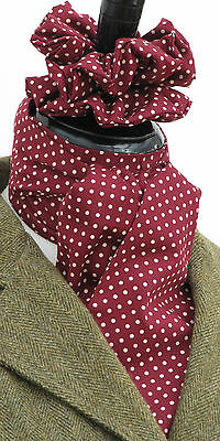 Self Tie Burgundy and Cream Pin Dot Cotton Riding Stock & Scrunchie - Hunting