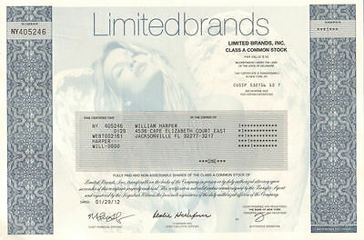 Limited Brands collectible stock certificate   Victoria's Secret model underpint