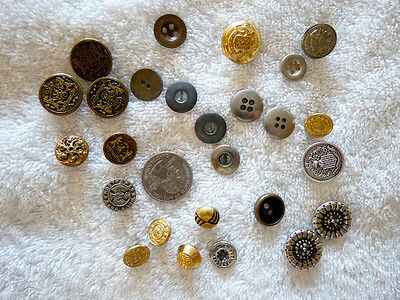 Lot of 30 Vintage Sewing Buttons. Metal &Metallic Finish.Varied Sizes & Shapes.