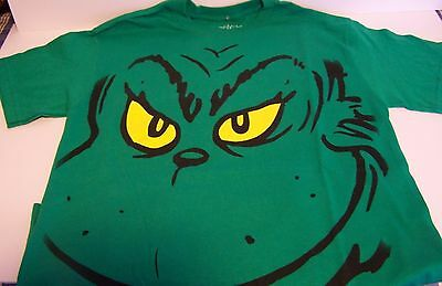 Grinch Face T-shirt Shirt Stole Christmas Kelly Green Dr. Seuss Small NWOT