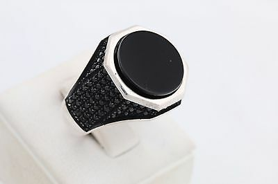 Turkish Jewelry Round Black Onyx Zircon 925 Sterling Silver Men's Ring Size 10.5