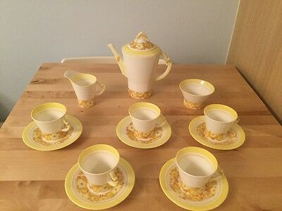 Vintage Royal Albert Art Deco Dorothy 9818 Fine China Coffee Set Floral