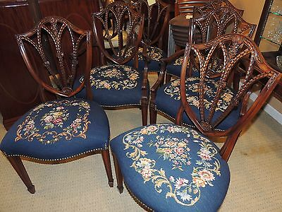 Set Six Shield-Back Dining Chairs Needlepoint two arm four side Blue embroidered