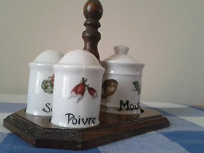 French Vintage Salt, Pepper & Mustard Pot With Stand