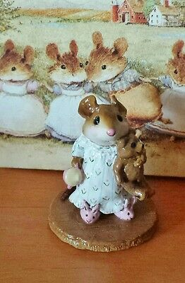 """Wee Forest Folk """"Mousey's Bunny Slippers"""" # M-218, White Gown RETIRED Mint"""
