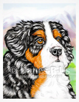 Bernese Mountain Dog Puppy Art Pup with Mountains Greeting Note Cards Set of 10