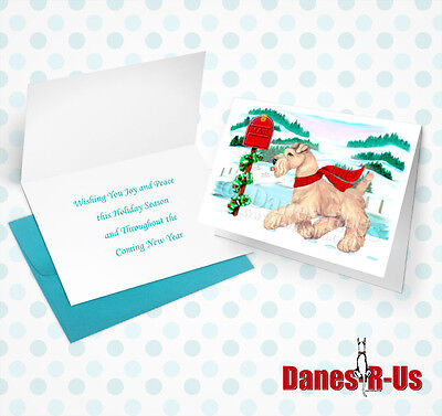 Wheaten Terrier Holiday Mail Dog Art Christmas Greeting Note Cards Set of 10